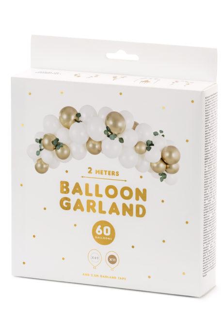 arche de ballons blancs et dorés, arches de ballons, décorations ballons, Arche de Ballons Blancs et Or, Kit Complet