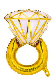 BALLON-BAGUE-EVJF-MARIAGE-FB7601, Ballon Bague Diamant Or, en Aluminium