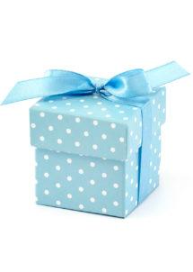 boites dragées, cadeaux baby shower, naissances garçons, petites boites cadeaux, Boites Cadeaux Bleues à Pois Blancs, x 10