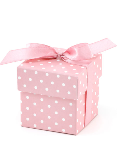boites dragées, cadeaux baby shower, naissances garçons, petites boites cadeaux, Boites Cadeaux Roses à Pois Blancs, x 10