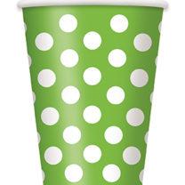 vaisselle jetable, gobelets en carton, vaisselle anniversaire, gobelets verts Vaisselle Vert Pomme, Gobelets Verts à Pois Blancs