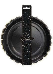 assiettes noires, assiettes en carton, vaisselle jetable, vaisselle pour anniversaire, assiettes pour anniversaire paris, Vaisselle Noire, Assiettes Noires et Or