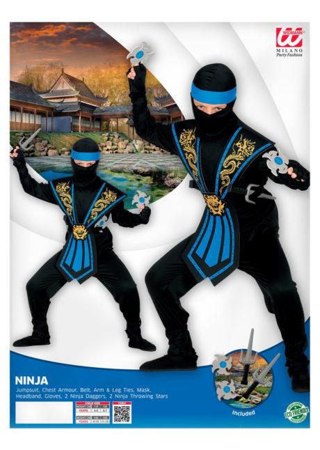 déguisement de ninja enfant, déguisement ninja garçon, déguisement enfant, déguisements pour garçon, déguisement ninja carnaval, Déguisement de Ninja Noir et Bleu, Garçon
