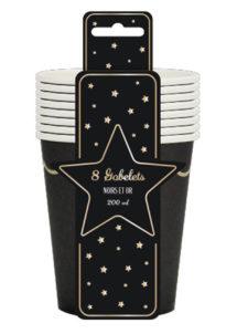 gobelets noirs, gobelets en carton, gobelets jetables, vaisselle jetable, Vaisselle Noire, Gobelets Noirs et Or