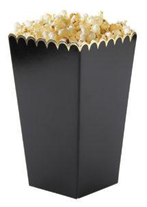 gobelets à popcorn, boite à popcorn, Gobelets à Pop Corn, Noirs et Or, x 8