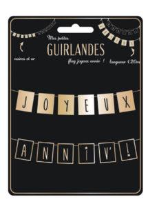 guirlande anniversaire, guirlande joyeux anniversaire, décorations anniversaires, guirlande originale joyeux anniversaire, Guirlande Anniversaire, Fanions Noirs et Or