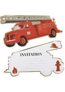 cartes invitations anniversaires, cartes d'invitations, anniversaire pompiers, Cartes d'Invitations Pompiers
