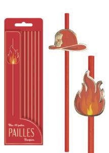 pailles en carton, pailles pour anniversaire, pailles pour goûters d'anniversaire, décorations de table, Pailles Jetables, Casque et Flamme de Pompiers