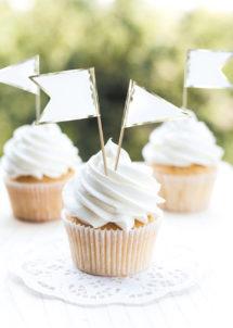 pics apéro, pics cocktail, décorations gâteaux, Décoration Gâteaux, Pics Apéro, Fanions Blancs