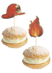 pics apéro pompiers, pics cocktail, cupcake pompiers, anniversaire pompiers, Décoration Gâteaux, Pics Apéro, Pompiers