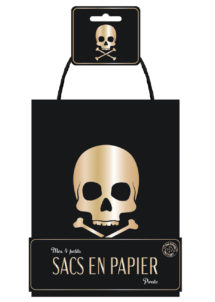 sac cadeau pirate, sachet cadeau anniversaire, sacs à bonbons, sachets bonbons anniversaires, Sacs Cadeaux Pirates, Noirs et Dorés