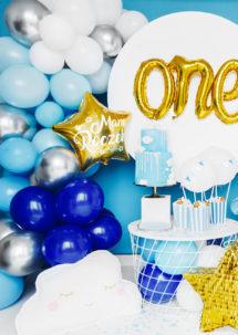 arche de ballons, ballons bleus, guirlande de ballons, arche décorations ballons, ballons babyshower, Arche de Ballons Bleus et Argent, Kit Complet