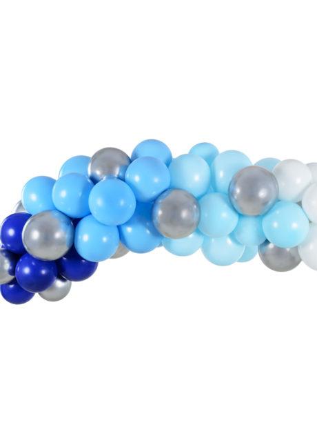arche de ballons, ballons bleus, guirlande de ballons, arche décorations ballons, ballons babyshower, Arche Guirlande de Ballons Bleus et Argent