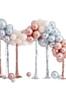 arche de ballons, bouquets de ballons, décoration ballons mariage, guirlande de ballons, Arche de Ballons, Argent, Rose Gold, Crème, Kit Complet