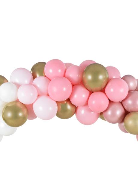 arche de ballons, ballons bleus, guirlande de ballons, arche décorations ballons, ballons babyshower, Arche de Ballons Roses et Dorés, Kit Complet