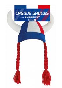casque de gaulois, casque supporter france, casque gaulois tricolore, supporters, euro, accessoires équipe de france, accessoire de supporters france, Casque de Gaulois Supporter, avec Tresses, Bleu Blanc Rouge