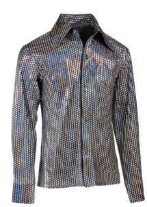 chemise disco argent paillettes, chemise disco brillante, chemise argent disco, Chemise Disco à Paillettes Hologrammes Argent