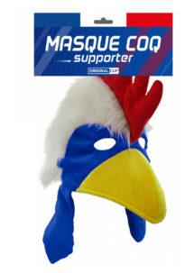 MASQUE-COQ-FRANCE, accessoire supporter France, EURO, coupe du monde, Masque Coq France, Velours et Fausses Plumes