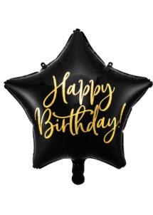 ballon anniversaire, ballons étoiles anniversaire, ballon happy birthday, Ballon Anniversaire, Etoile Noire et Or, en Aluminium