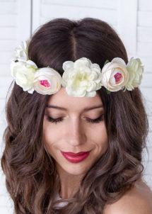 couronne fleurs, couronne evjf, bandeau de fleurs, couronne de fleurs bride to be, couronne fleurs hippies, Bandeau Couronne de Fleurs Blanches