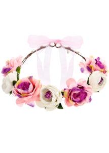 couronne fleurs, couronne evjf, bandeau de fleurs, couronne de fleurs bride to be, couronne fleurs hippies, Bandeau Couronne de Fleurs Roses et Parme