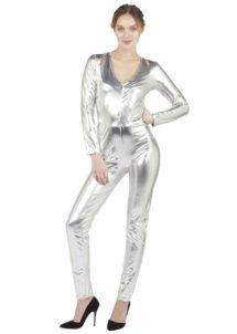 déguisement argent, combinaison argent, déguisement alien, déguisement disco femme, Combinaison Moulante Métallisée, Argent