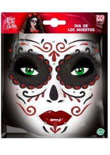 kit maquillage dia de los muertos, kit maquillage jour des morts, kit maquillage day of death, maquillage mort mexicaine, autocollants visage, Autocollants Glitter pour Visage, Rouges