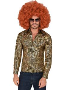 chemise disco dorée paillettes, chemise disco brillante, chemise dorée disco, Chemise Disco à Paillettes, Tourbillons Dorés