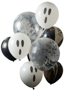 ballons hélium, ballons halloween, ballons confettis, ballons chauve souris, ginger ray, 1 Bouquet de Ballons Fantômes, Halloween