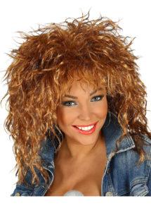 perruque châtain, perruque châtain femme, perruque années 80, Perruque Années 80, Rock Star, Châtain