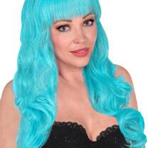perruque bleue, perruque qualité supérieure, perruque lavable, perruque bleu ciel