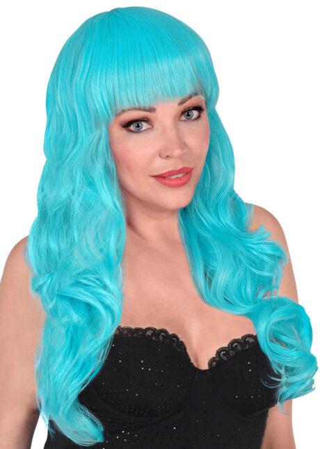 perruque bleue, perruque qualité supérieure, perruque lavable, perruque bleu ciel, Perruque Bella, Bleu Ciel, Lavable et Stylisable