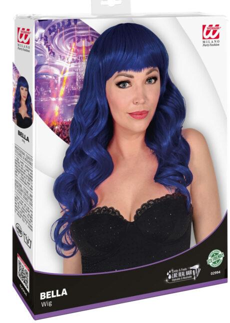 perruque bleue, perruque qualité supérieure, perruque lavable, perruque bleu marine, Perruque Bella, Bleu Nuit, Lavable et Stylisable