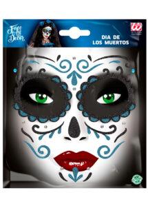 kit maquillage dia de los muertos, kit maquillage jour des morts, kit maquillage day of death, maquillage mort mexicaine, autocollants visage, Autocollants Glitter pour Visage, Bleus