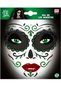 kit maquillage dia de los muertos, kit maquillage jour des morts, kit maquillage day of death, maquillage mort mexicaine, autocollants visage, Autocollants Glitter pour Visage, Verts