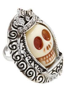 bague Halloween, bijoux jour des morts, accessoire mort mexicaine, Bague Jour des Morts, Crâne Blanc et Métal