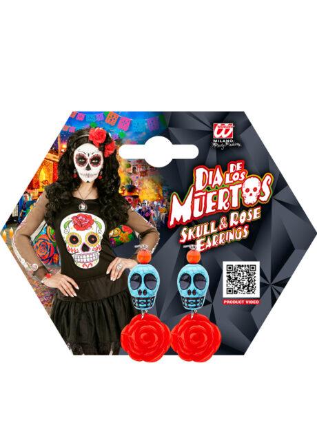 bijoux déguisement halloween, accessoire bijoux déguisement, accessoire déguisement halloween, boucles d'oreilles dia de los muertos, accessoire mexicain halloween, accessoire mort mexicaine halloween, déguisement jour des morts, déguisement jour des morts femme,halloween jour des morts, déguisement jour des morts halloween, Boucles d'Oreilles Jour des Morts, Crânes Bleus