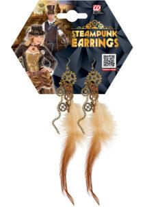 boucles d'oreilles steampunk, bijoux steampunk, accessoire steampunk, Boucles d'Oreilles Steampunk, Plumes et Rouages