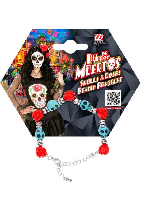 bracelet jour des morts, bijoux jour des morts mexicains, bijoux dia de los muertos, accessoire jour des morts, accessoire mort mexicaine, Bracelet Jour des Morts Mexicain, Crânes Bleus
