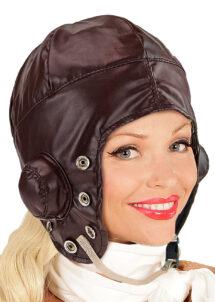 chapeau aviateur, chapeau pilote, accessoire pilote ancien, Chapeau d'Aviateur ou Pilote Auto, Simili Marron