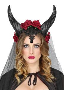 cornes maléfique, cornes de diable, démon, ange et démon, Cornes de Maléfique, Voile et Roses