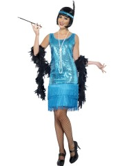 robe charleston déguisement, déguisement charleston, déguisement années 30, robe années 20, costume cabaret, déguisement cabaret femme Déguisement Charleston Fun Time, Bleu
