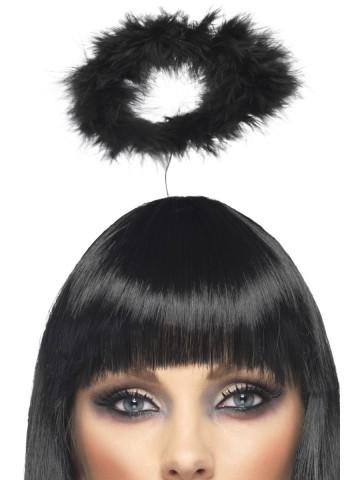 auréole d'ange, auréoles d'anges noires, auréoles en plumes noires, déguisement d'ange, auréole d'ange plumes noires, accessoire déguisement d'ange, accessoire d'ange déguisement Auréole d'Ange, Noire