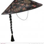 chapeau chinois, chapeaux chinois avec tresse, accessoires déguisement chinois, soirée à thème asie Chapeau Chinois, Tresse