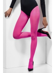 collants roses, collant opaque, collant uni, collant déguisement, accessoire déguisement, collant rose, Collant Opaque Fluo, Rose