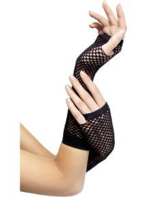 accessoires années 80, gants mitaines résille noire, gants femme noirs, mitaines résille noires, gants mitaines déguisement, accessoires gants déguisement, Gants Mitaines Résille, Noirs