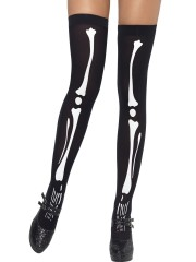 Bas squelettes, bas noirs halloween, bas déguisement, collants déguisement, accessoire déguisement, accessoire halloween, accessoire ange et démon, collants noirs squelette blanc, bas noirs squelettes Bas Squelettes, Noirs