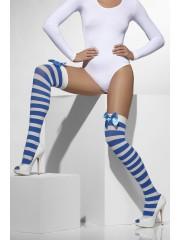 bas rayés bleus, bas rayures déguisement, bas déguisements, collants déguisements, accessoires de déguisement, bas rayures bleues et blanches, bas rayures noeuds satin, bas déguisement, bas rayés Bas Rayés Bleus