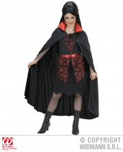 cape noire col rouge, cape halloween, cape noire halloween, cape à col rouge halloween, cape adulte halloween, cape de vampire halloween enfant, cape enfant halloween Cape Noire, Col Rouge en Satin, Enfant