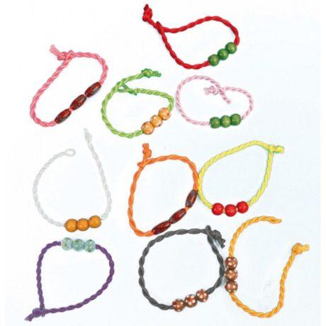 bracelet en bois Bracelets Tissu et Perles en Bois